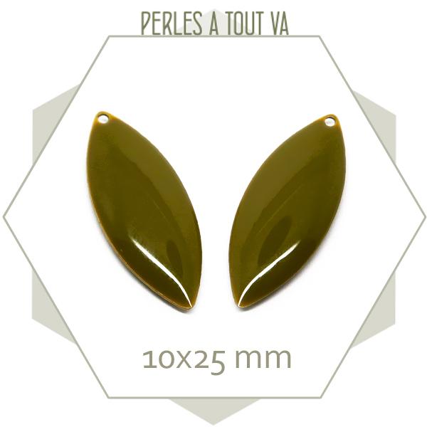 6 breloques navettes émaillées 10x25mm vert bronze