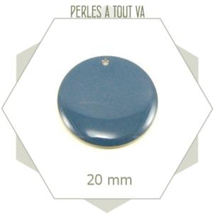 4 sequins émaillés 20mm bleu gris ronds, sequins sobres pour bijoux simples