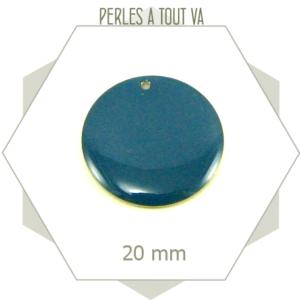 4 sequins émaillés 20mm bleu canard ronds, breloques rondes émail époxy