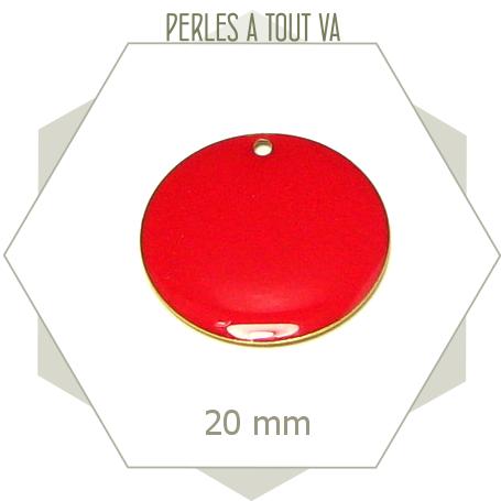 4 sequins émaillés rouges 20mm ronds, breloques pour création de bijoux