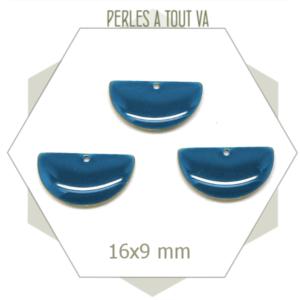 6 sequins émaillés demi cercle 16mm bleu canard