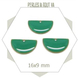 6 sequins émaillés demi cercle 16mm turquoise