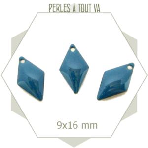 6 sequins émaillés losanges bleu gris