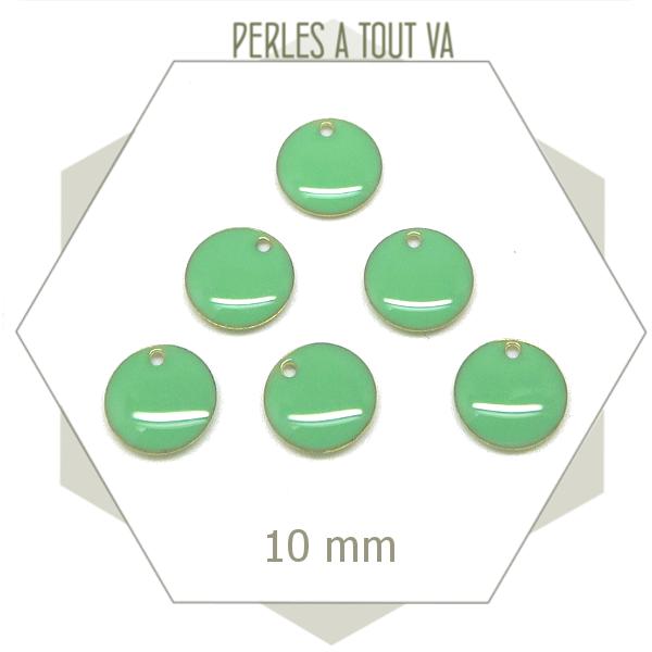 6 sequins émaillés vert d'eau ronds 10 mm