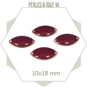 6 navettes émaillées 10x18mm prune 2 trous