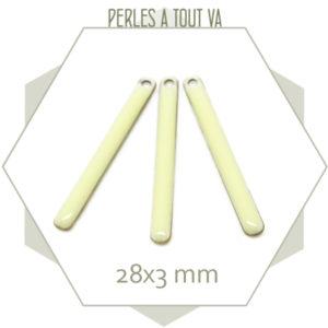 4 sequins émaillés bâtonnet 28mm blanc crème