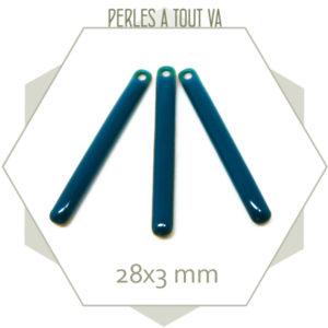 4 sequins émaillés bâtonnet 28mm bleu canard