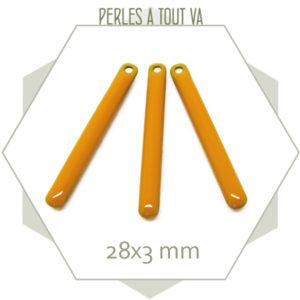 4 sequins émaillés bâtonnet 28mm jaune moutarde