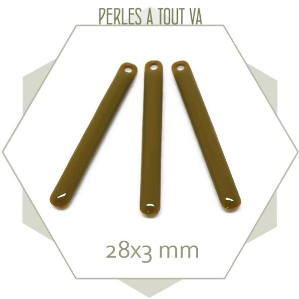 4 sequins émaillés bâtonnet 28mm vert bronze