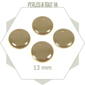 6 sequins émaillés gris taupe 13mm ronds, matériel pour création de bijoux