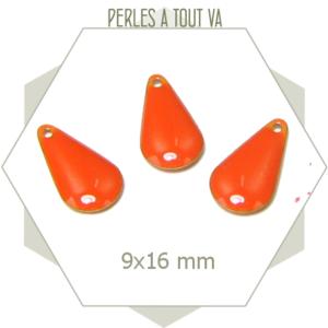 6 sequins gouttes émaillés 9x16mm orange abricot