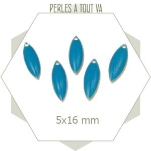 6 sequins émaillés ovales 5 x 16mm bleu canard, matériel pour création de bijoux