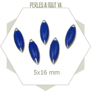 Sequins émaillés navette 5 x 16mm bleu marine, matériel pour création de bijoux
