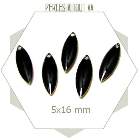6 sequins émaillés en forme navette 5 x 16mm noir, matériel pour créations originales