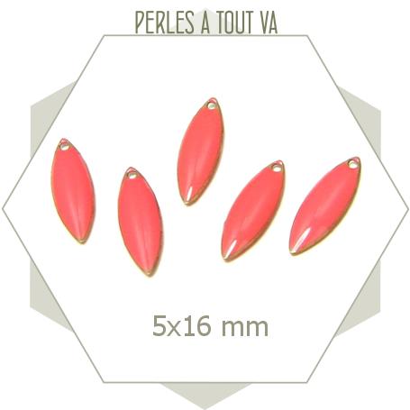 6 Breloques émaillées forme navette corail, matériel pour création bijoux