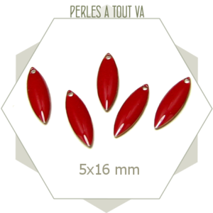 Sequins émaillés petite navette 5 x 16mm rouge brique, breloques rouge foncé