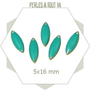 Breloques émaillées ovales 5 x 16mm turquoise, matériel pour création d'accessoires