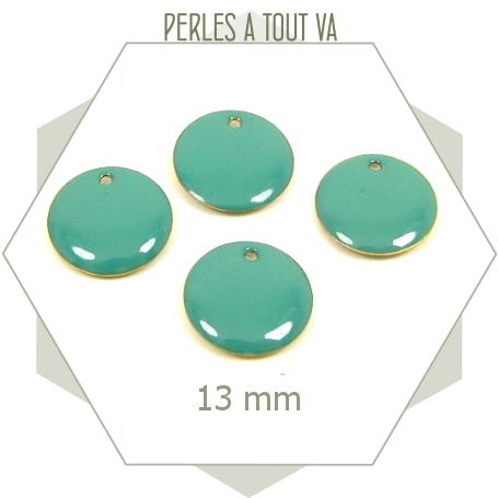 6 sequins émaillés turquoise 13mm ronds, matériel pour création