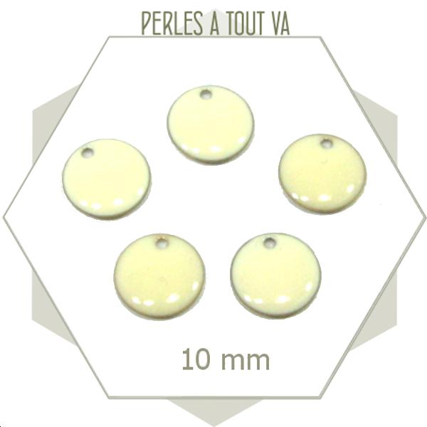 6 sequins émaillés blanc crème ronds 10mm, création accessoires vestimentaires