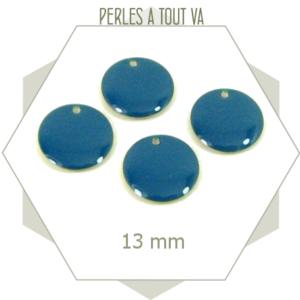 6 sequins émaillés bleu canard 13mm ronds, breloques pour bijoux uniques