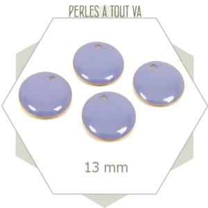 6 sequins émaillés bleu clair 13mm ronds, breloques circulaires pour accessoires vestimentaires