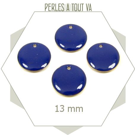 6 sequins émaillés bleu nuit 13mm cercles, matériel pour créations géométriques