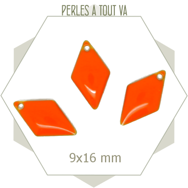 6 sequins émaillés losange orange vif