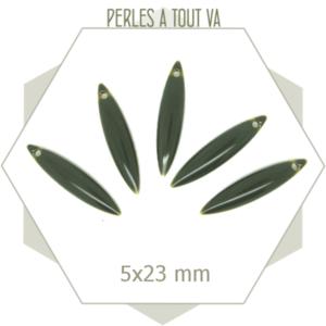 6 Sequins émaillés forme navette 5x23 mm gris ardoise, breloques émaillées 2 faces