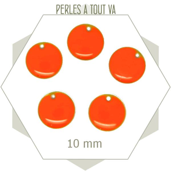 6 sequins émaillés ronds 10 mm orange vif, breloques émaillées