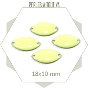 6 navettes émaillées 10x18mm blanc crème 2 trous