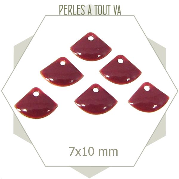 6 sequins éventails émaillés rose framboise, breloque émail