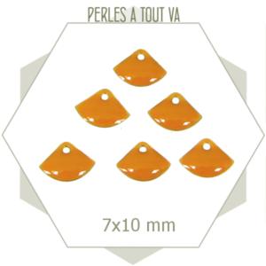 6 sequins éventails émaillés jaune foncé, breloque émail