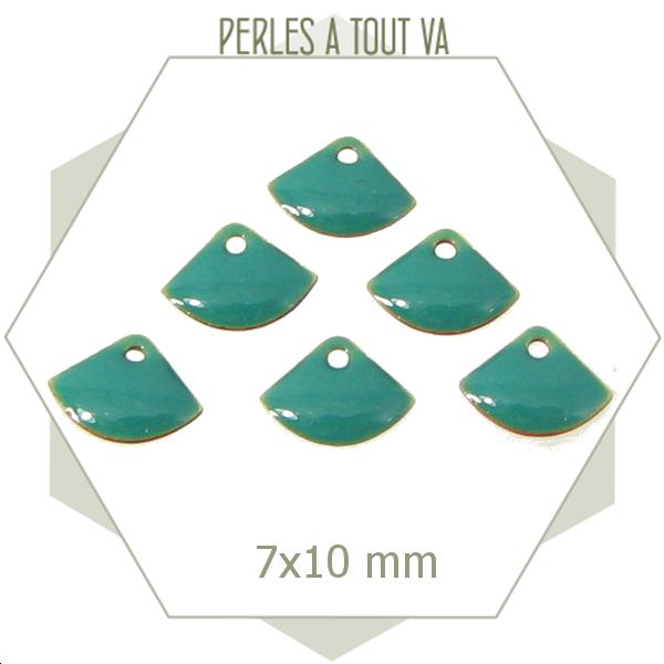 6 sequins éventails émaillés turquoise, breloques émaillées