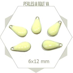 6 sequins petites gouttes émaillées blanc crème