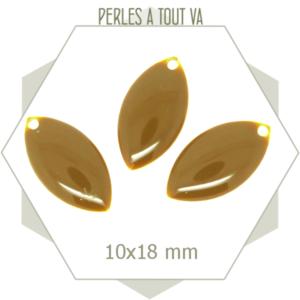 6 navettes émaillées 10x18 mm brun noisette -marron-
