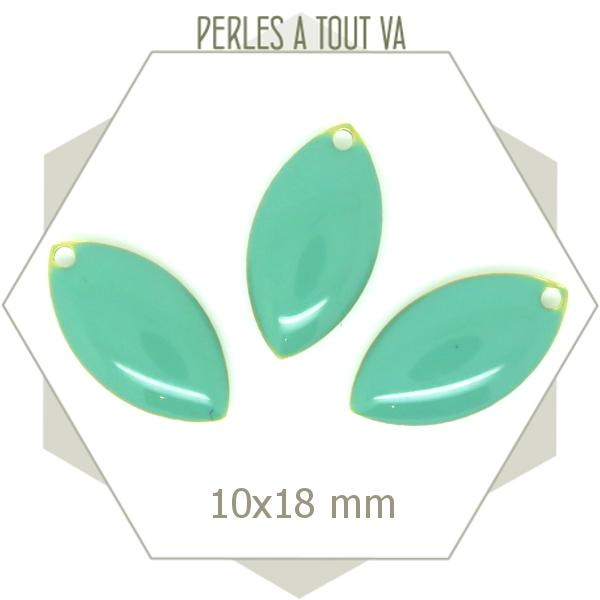 6 navettes émaillées 10x18mm  turquoise clair, breloque émail