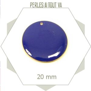 4 sequins émaillés bleu nuit 20mm ronds, matériel pour création de bijoux