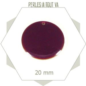 4 sequins émaillés violets 20mm ronds, sequins émaillés pour bijoux