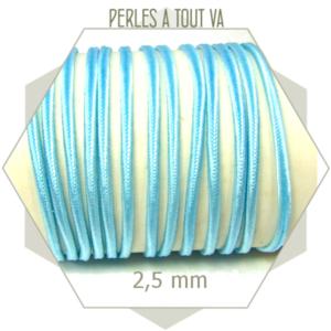 5 m de cordon plat soutache bleu ciel synthétique 2.5 mm