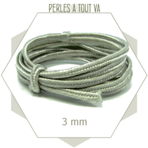 5 m de cordon plat soutache gris clair synthétique 2.5 mm