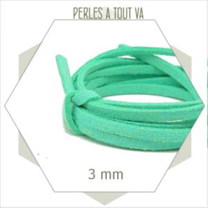 5m lacet suédine imitation daim 3mm vert d'eau