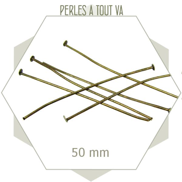 40 tiges métalliques bronze 50 mm tête plate