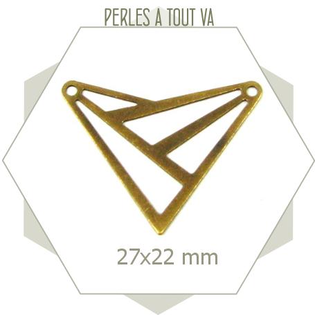 8 connecteurs triangles motif ajouré bronze, connecteur triangle évidé