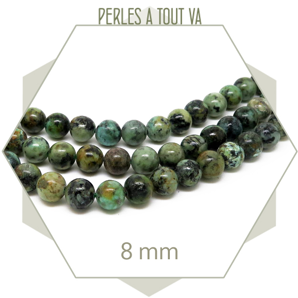 45 perles de turquoise africaine rondes 8 mm