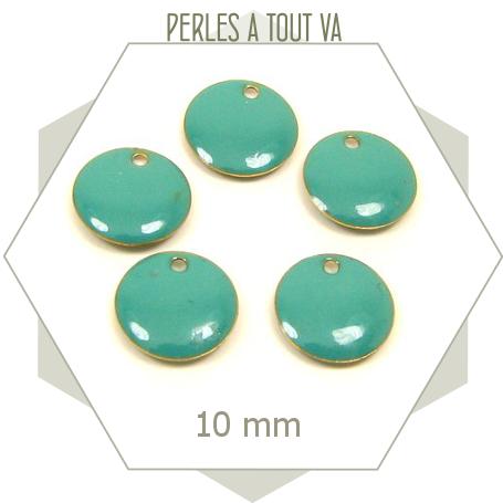 6 sequins émaillés turquoise ronds 10mm pour création de bijoux