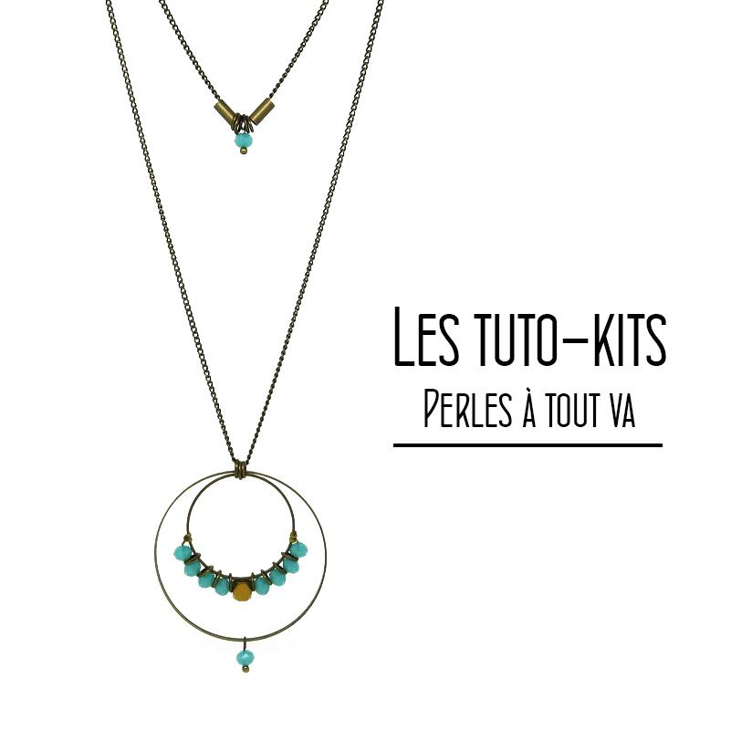 Kit collier Karthala, perles de verre à facette - Tuto kit bijou