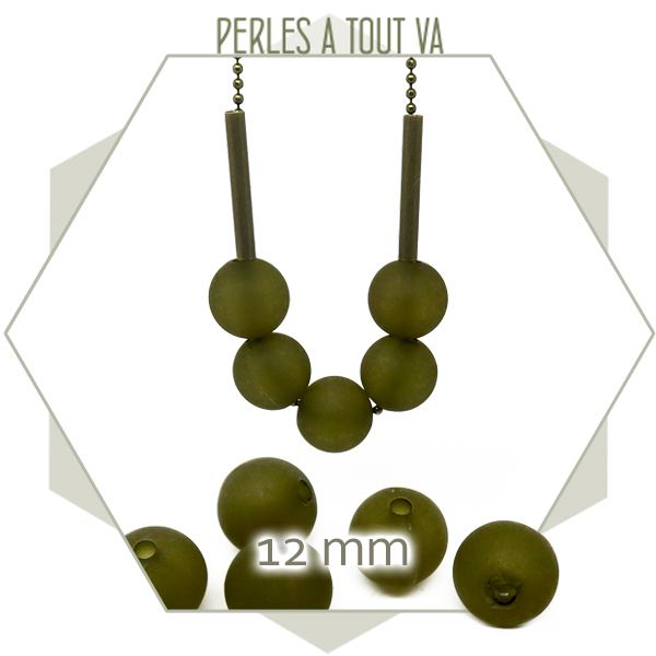 40 perles rondes 12 mm vert kaki