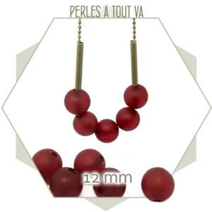 40 perles rondes 12 mm rouge foncé