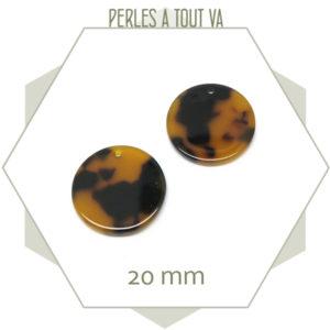 pendentif rond cellulose ambre
