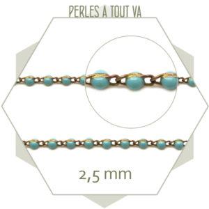 chaîne émaillé turquoise